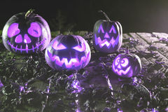 Halloween pumpkins at wood background. Carved scary faces of pumpkin. Royalty Free Stock Image