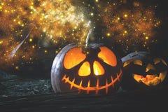 Halloween pumpkins at wood background. Stock Photo