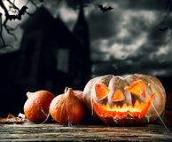 Halloween pumpkins on wood with dark background Stock Image