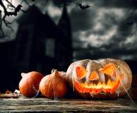 Halloween pumpkins on wood with dark background Stock Image