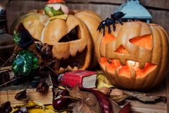 Halloween pumpkins on wooden background Stock Photography