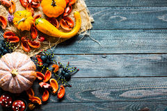 Halloween pumpkins, on wooden background royalty free stock images