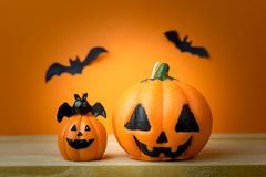 Halloween Pumpkins on wooden table Royalty Free Stock Photo