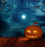 Halloween pumpkins on a wooden table Royalty Free Stock Photos
