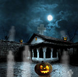 Halloween pumpkins in the yard of an old house at night stock illustration