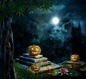 Halloween pumpkins in yard of old house night stock illustration