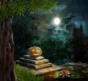 Halloween pumpkins in yard of old house night Royalty Free Stock Photography