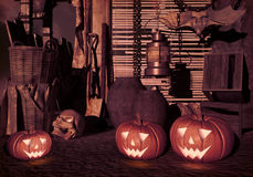 Halloween pumpkins in the yard of an old house at night. Halloween background. royalty free illustration