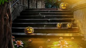 Halloween pumpkins in yard of of old stone staircase night in br royalty free illustration