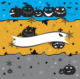 Halloween pumpkins on yellow gray and blue. With stars bats and spiderweb Stock Photo