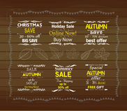 Halloween pumpkinSet of special sale offer labels royalty free illustration