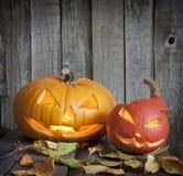 Halloween pumpor på gammala grungebräden Royaltyfria Bilder