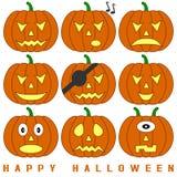 halloween pumpor ställde in Fotografering för Bildbyråer