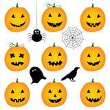 halloween pumpor ställde in Arkivbilder