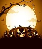 Halloween pumpor under månsken Royaltyfria Bilder