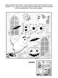 Halloween-Punkt-zupunkt und Farbtonseite Stockbild