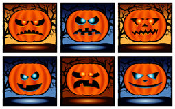 Halloween punpkin  icon set Stock Photography