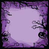 Halloween purple background with flying bats, spiders, web, cobweb, pumpkins, tombs, tree. stock illustration