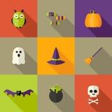 Halloween quadrierte flache Ikonen einstellte 2 Lizenzfreie Stockfotografie