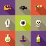 Halloween quadrierte flache Ikonen einstellte 3 stock abbildung