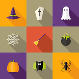 Halloween quadrierte flache Ikonen einstellte 4 Stockbilder