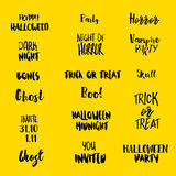 Halloween quotes at yellow Stock Images