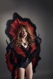 Halloween Ragazza di grido vestita come regina del ragno Fotografia Stock Libera da Diritti