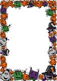 Halloween-Rahmen mit Hexen, Zombies, Geistern, Katzen und Kürbisen stock abbildung