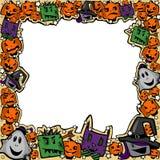 Halloween-Rahmen mit Hexen, Zombies, Geistern, Katzen und Kürbisen lizenzfreie abbildung