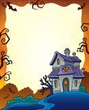 Halloween rama z nawiedzającym domem 1 Fotografia Stock