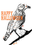 Halloween Raven. A digital linocut of a raven with overlayed typography in orange Stock Photo