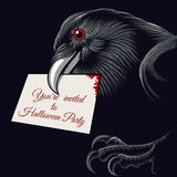 Halloween Raven. The raven with invitation card to Halloween Party in a beak. Free font used Royalty Free Stock Image