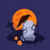 Halloween Raven Sitting on a Gravestone Royalty Free Stock Photos