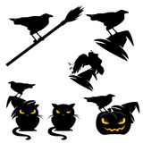 Halloween ravens and cats Royalty Free Stock Images