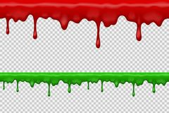 Halloween realistic dripping blood bath, seamless repeatable graphic vector design, transparent background. Halloween realistic dripping red and green blood Stock Photography