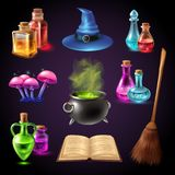 Halloween Realistic Set. With various objects for witches isolated on black background vector illustration Stock Images