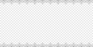 Halloween rectangle double up and down spiderweb bordering with copy space on transparent background. Vector elegant double up and down rectangle black stock illustration