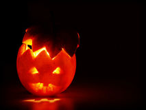 Halloween. Red apple with fire royalty free stock image