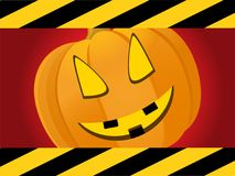 Halloween red background with creepy pumpkin face. Halloween Red Background with Black and Yellow Striped Frame and Creepy Pumpkin Face Stock Photos