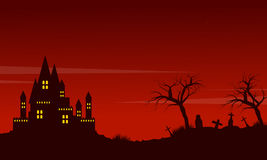 Halloween red background landscape style Stock Images
