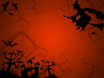 Halloween red background for postcards with witch