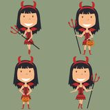 Halloween Red Devil Girl. Vector set with Red Devil girl with trident and pumkin. Teen with trendy costume for Halloween party. Child collect sweets Royalty Free Stock Images