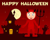Halloween Red Devil and Haunted House Royalty Free Stock Photo