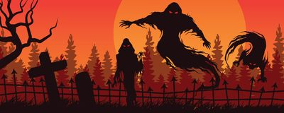 Halloween landscape with ghostly figure and cemetery A Royalty Free Stock Photos