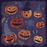 Halloween-reeks leuke pompoenen in bohostijl Royalty-vrije Stock Afbeeldingen