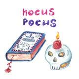 Halloween-reeks van hand schilderde pictogrammen, schedelkaars en heksenboek van werktijden Magische de symboleninzameling van Ha vector illustratie