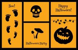 Halloween-reeks van silhouettenschedel Stock Afbeeldingen