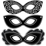 Halloween-reeks zwart-witte maskers Royalty-vrije Stock Fotografie