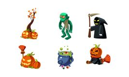 Halloween related objects and creatures set, zombie, scary pumpkin, death with scythe, cauldron of potion, user. Interface assets for mobile apps or video games vector illustration