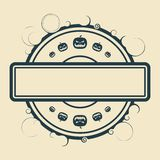 Halloween relative stamp pattern. Pumpkin icons and blank text field Stock Images